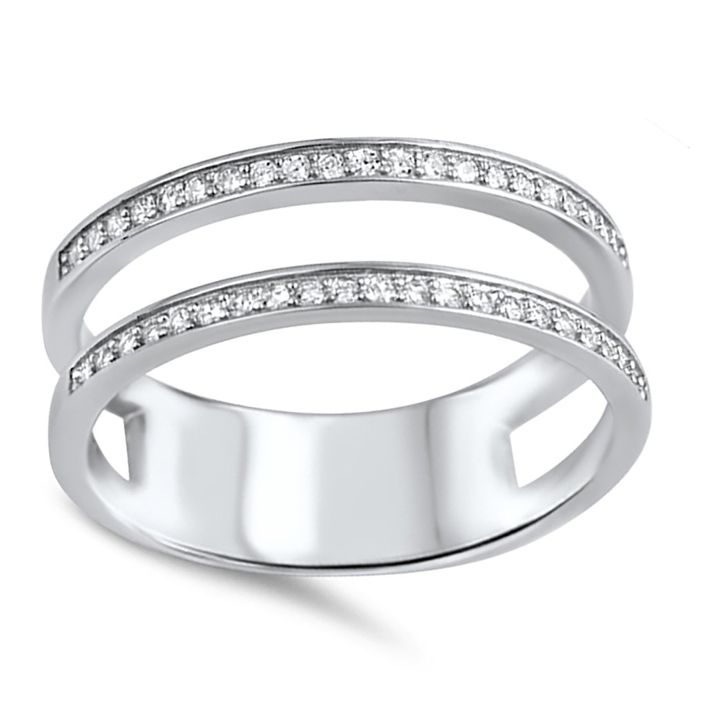Double Wedding Band Guard for Engagement Ring .925 Sterling Silver CZ 8