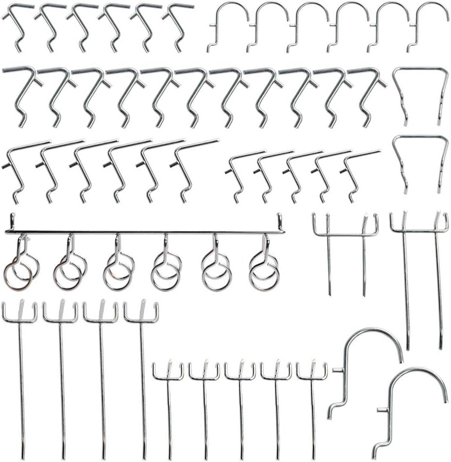 Ganchos para paneles perforados de 25 mm//1 pulgada hierro cromado antioxidante para almacenamiento XDLink