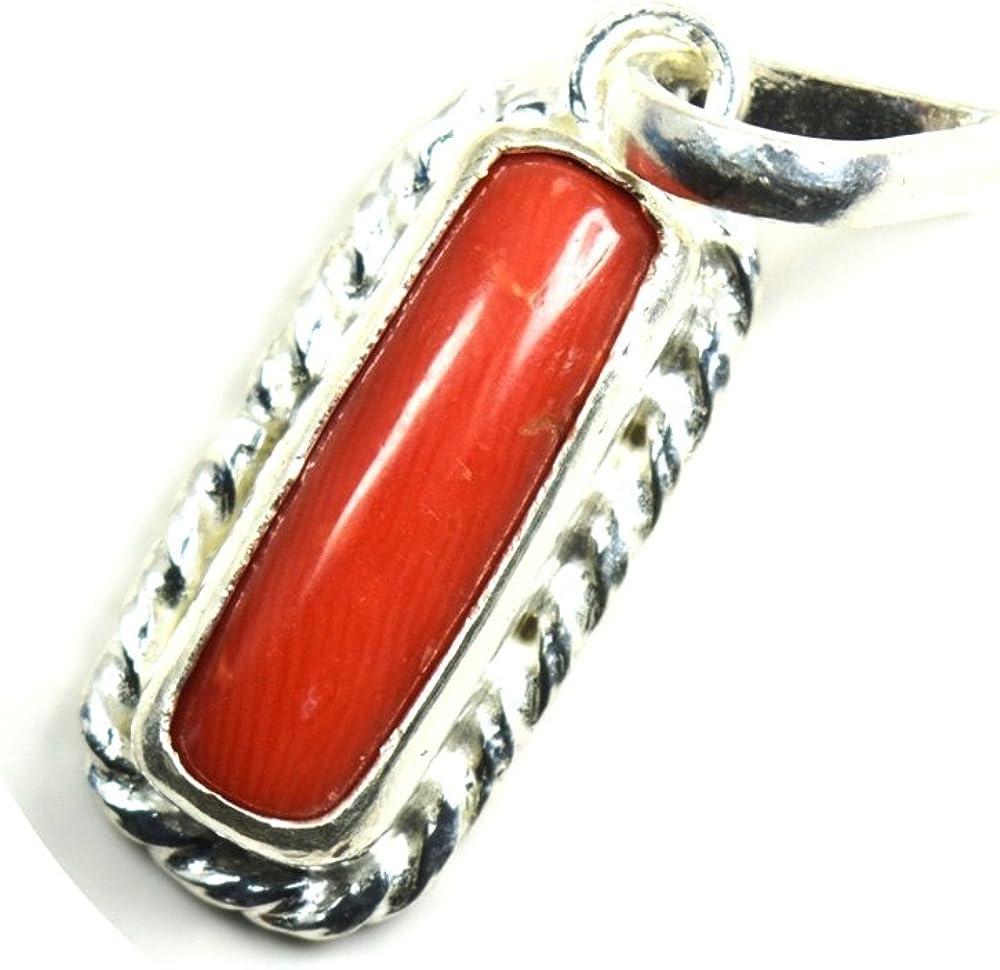 Colgante de plata de ley de coral natural para mujer, 7 quilates, chakras, curación de chrams de marzo, collar con piedra natal