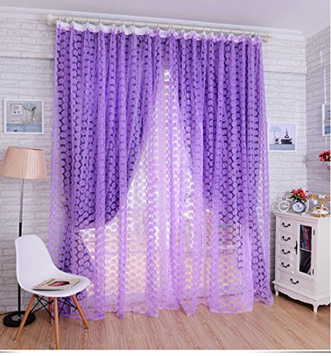 Price comparison product image PHOTNO Striking Rose Tulle Window Screens Door Balcony Curtain Panel Sheer Scarfs (Purple)
