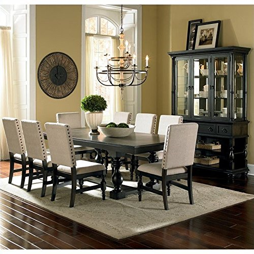 Steve Silver Company Leona 7 Piece Dining Table Set in Dark Hand Rubbed