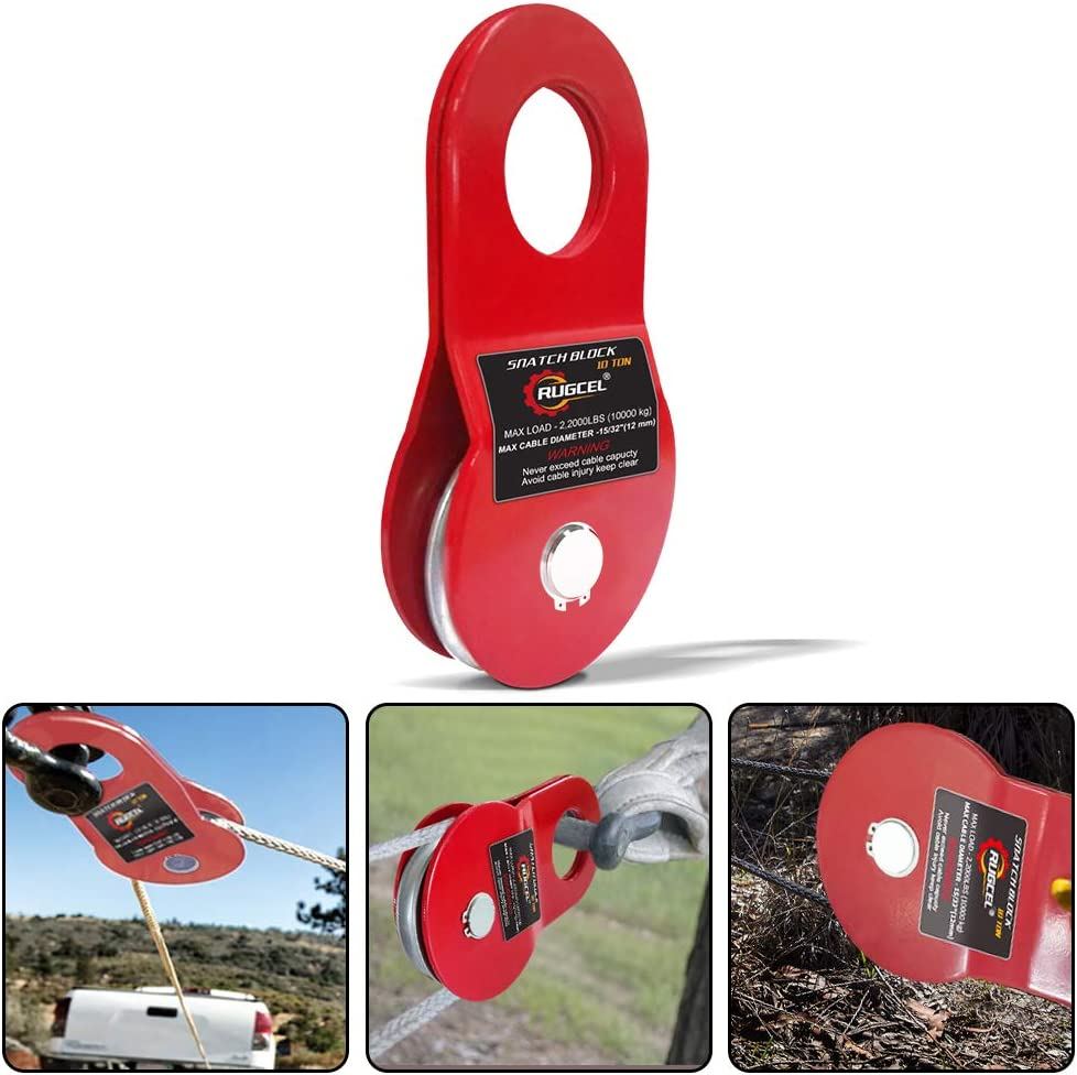 Red leofit 10T Recovery Winch Snatch Block 22000LB Capacity Heavy Duty Winch Accessories Off-Road Recovery Emergency Kit