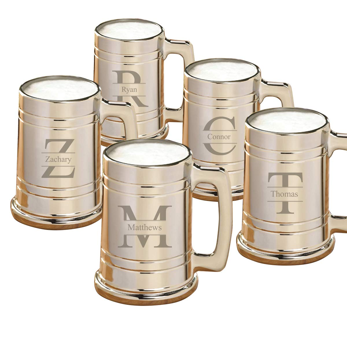Personalized Gunmetal Beer Mugs - Personalized Beer Mugs - Stamped Monogram - Set of 5