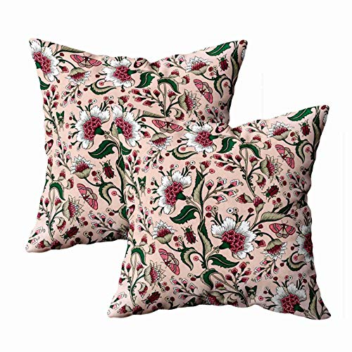 (Shorping Pink Floral Pillow, Zippered Pillowcases 18X18Inch 2 Pack Throw Pillow Covers Pattern Fantasy Flowers Natural for Home Sofa)