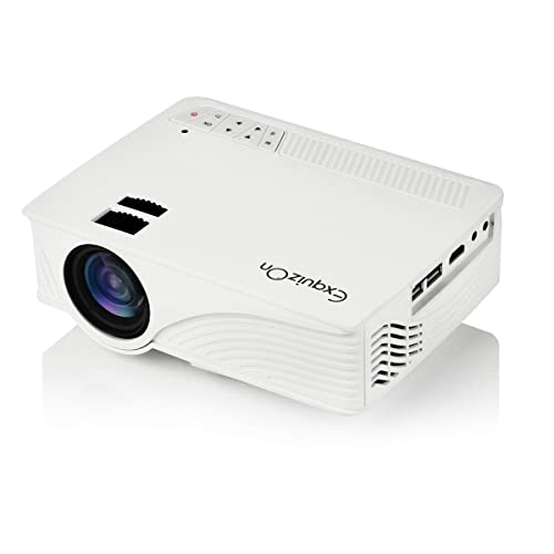 Exquizon LED Projector Video Home Projector with HDMI Input Support 1080P for Cinema Theater TV Laptop Game SD iPad iPhone Android Smartphone-GP12, White