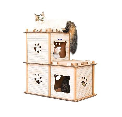 GLMAMK Mansion Cardboard Cat Houses, Almohadillas para rascar para el Centro de Actividades de Gatos
