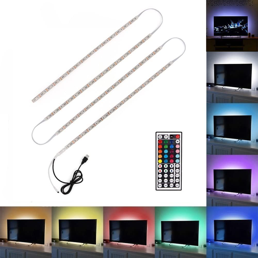 Minger USB Tira LED Luz 4*50cm 5050 RGB TV ambiente de iluminación ...