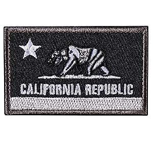 Bandera del Estado de la República de California - Parche de Moral Táctico del Oso del CA - Insignia de parche de parche bordado cosido en el sombrero, chaquetas, mochila (negro)
