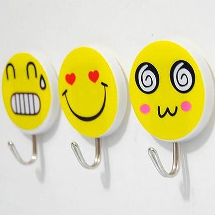 Ametsus - 6 x Ganchos de pared adhesivos para niños Emoji para colgar en el baño