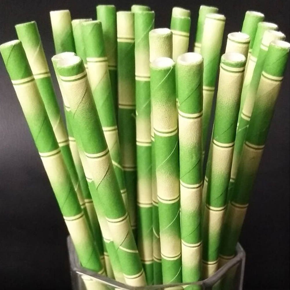 Vanvler Paper Straws 25 pcs Bamboo Pattern Decoration Straw Wedding Party Supplies (B)