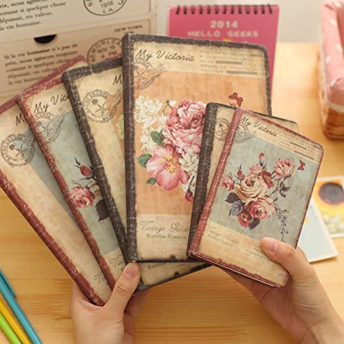 Qinlee Vintage Tagebuch Notizbuch Blumenmuster Stil Notizblock Wochenplanung Idea Memory Memo Buchen für Travel Journal Schüler Notizen