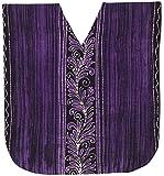 LA LEELA Cotton Batik Short Caftan Swimsuit Dress Purple_1601 OSFM 14-18W [L-2X]