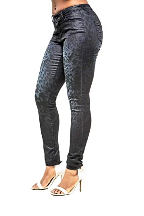 33d1ccd207b276 Poetic Justice Women's Curvy Fit Blue Coated Stretch Twill Animal Print  Jeans Size 27 x 31Length