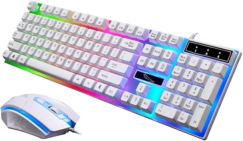 Uonlytech Juegos de Teclado y ratón con retroiluminación LED ...