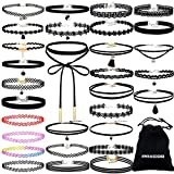 Image of Paxcoo 36 PCS Choker Necklaces Set Including 30 Pcs Black Choker Necklaces and 6 Pcs Extender Chains for Women Girls