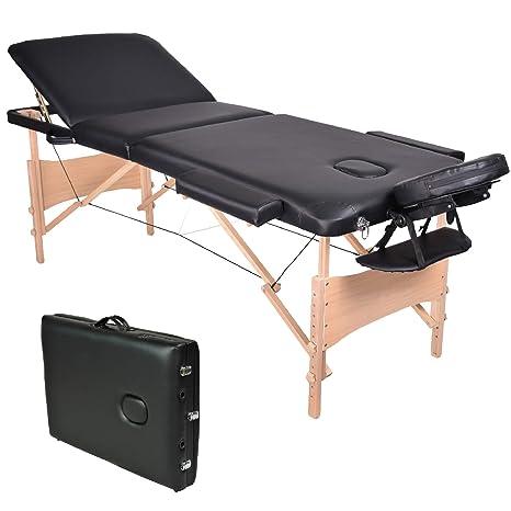 Wellhome Lettino Da Massaggio 3 Zone Legno Pieghevole Portatile