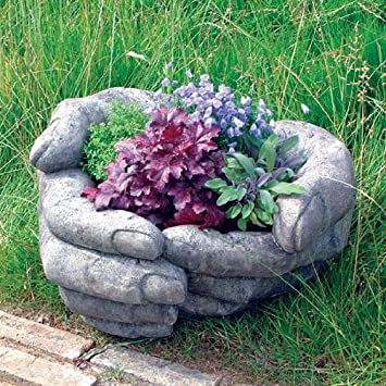 Stone Garden Planters And Troughs Giant plant pots uk indoor flower pots indoor flower pots indoor large garden planter giant cupped hands stone plant pot amazon co workwithnaturefo