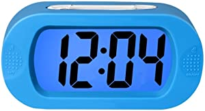 Lomanda Digital Alarm clock, Easy to Set Kids Alarm Clock Battery Operated Large LED Display Clock Silicone Cover with Backlight Snooze Bedrooms Great for Kids Boys Girls (Blue)