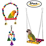 Mrlipet Bird Swing Toys with Colorful Wood Beads Bells and Wooden Hammock Hanging Perch for Budgie Lovebirds Conures Small Parakeet Cages Decorative Accessories