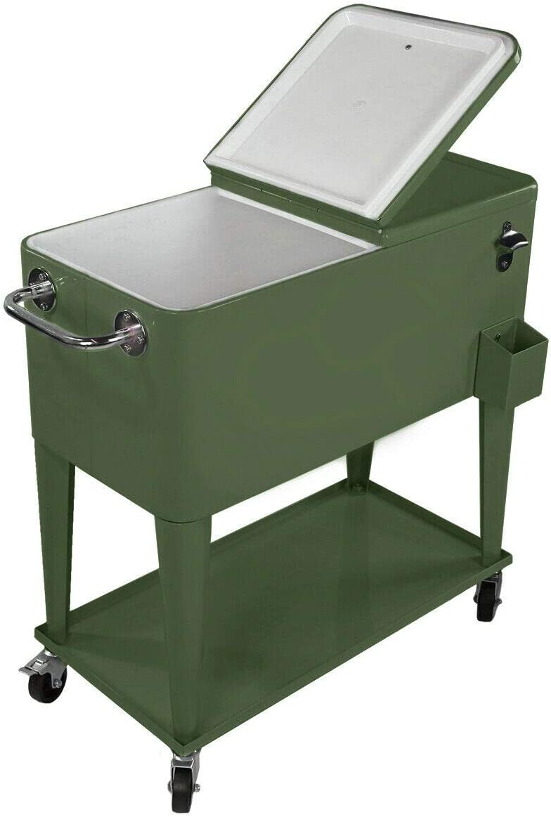 Retro 80 Quart Beverage Cooler ICE Outdoor pation Rolling Portable Olive Green
