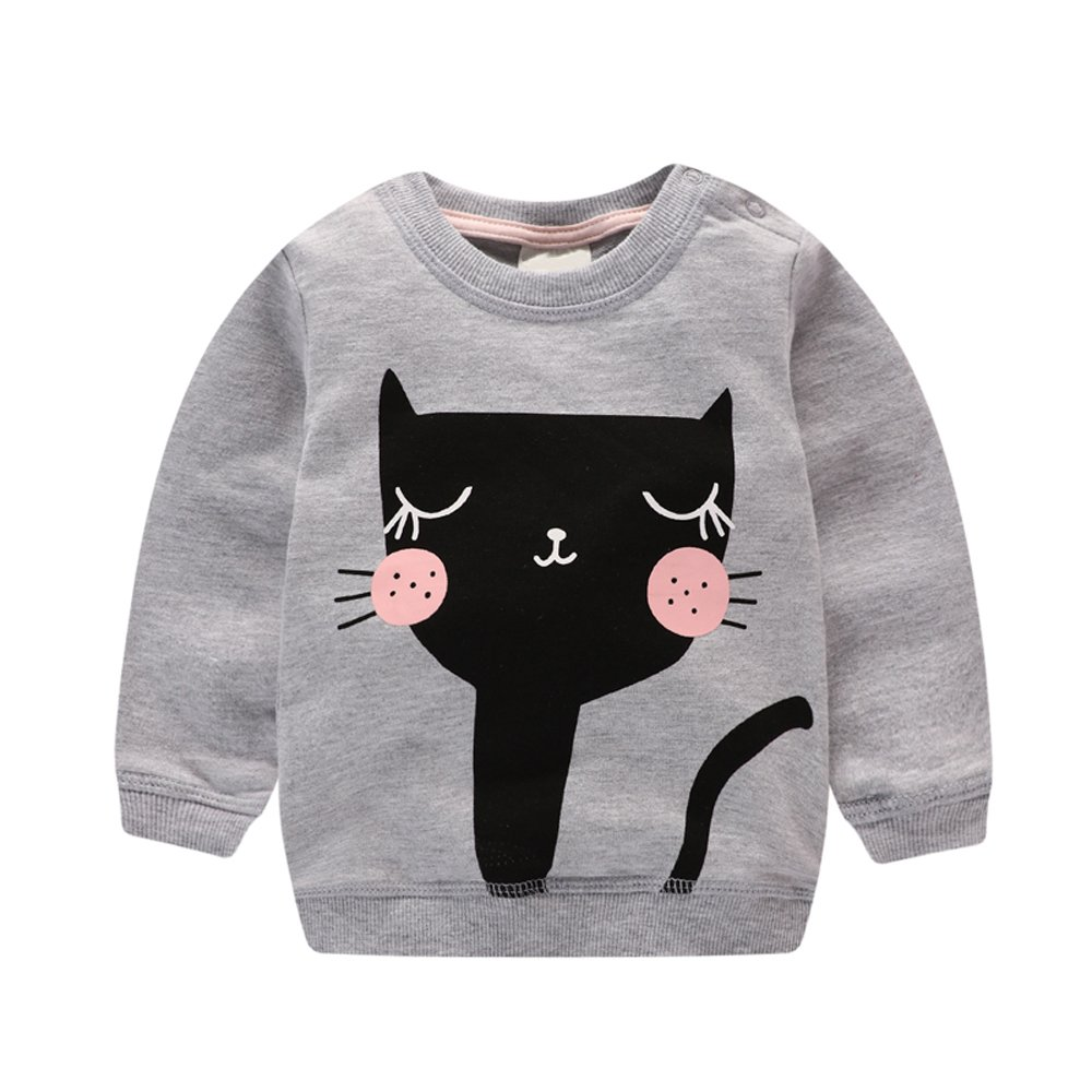 HUAER/& Baby Girl Pullover Cat Print Sweatshirt