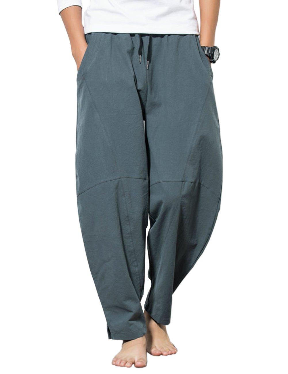 KAMUON Men's Summer Casual Baggy Drawstring Cotton Beach Harem Pants Trousers (US M/L = Asian Tag 3XL : Waist 35''-36'', Grey Blue)