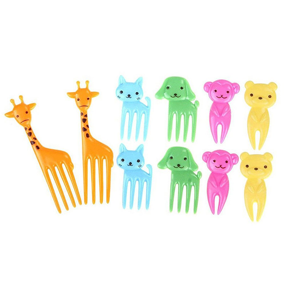 10 Pcs Cartoon Animal Food Fruit Picks Forks Cupcake Picks Decor for Baby Lunch Box Tableware Sandwich Cake Dessert Forks Gift (1#) Brussels08