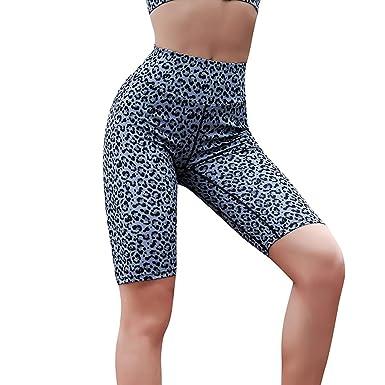 b3d01a2436c Kanzd Women Pants Women High Waist Yoga Leopard Print Splice Legging  Running Sports Short Pants (