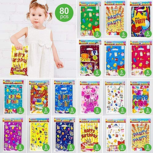 (Gift candy bags for kids birthday & party, 6.5 x 10 in,80 bags with 16 types of patterns plastic bags,USE for party,Gift,candies,goodies,small)