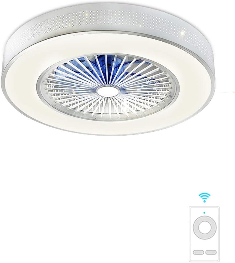 """YHMJ Ventilador de Techo Invisible Con LED Lámpara y Mando a Distancia,3 Colores Regulable Invisible Luz de Techo del Ventilador de Bajo Ruido,Para Salón o Dormitorio,Plata,Diámetro 23"""" / 58 cm,A"""