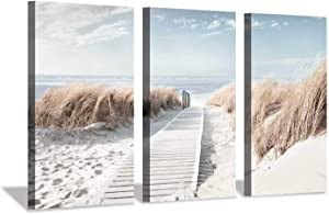 Hardy Gallery Beach Path Picture Coastal Artwork: Seaside Boardwalk Painting Art Print on Canvas for Living Room (34'' x 20'' x 3 Panels)