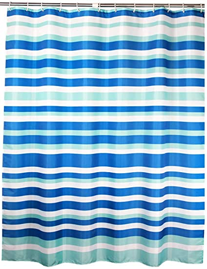 Welwo Blue White Horizontal Striped Stripes Extra Wide Shower Curtain 108 X 72 Inches For