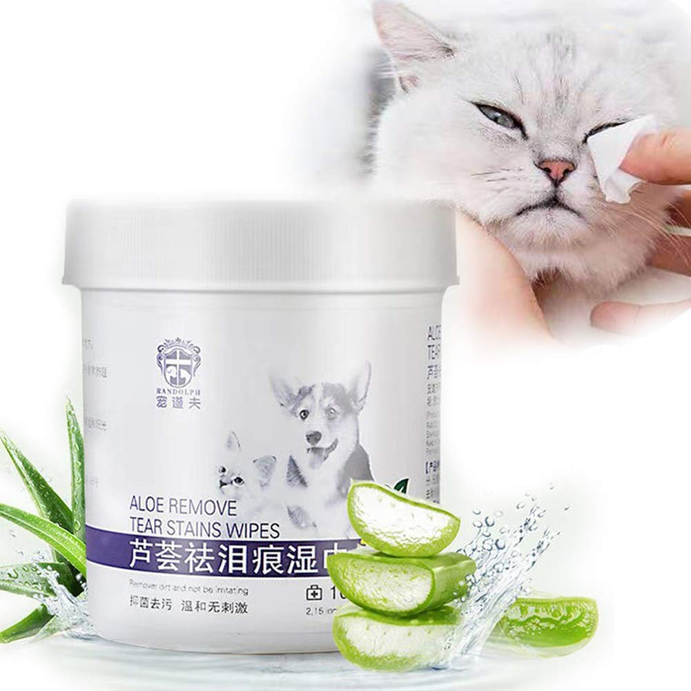 JIAOJO Eye Tear Stain Remover Wipes for Cats & Dogs, 100 Presoaked Cotton Pads,Best Natural Eye Crust Treatment for White Fur