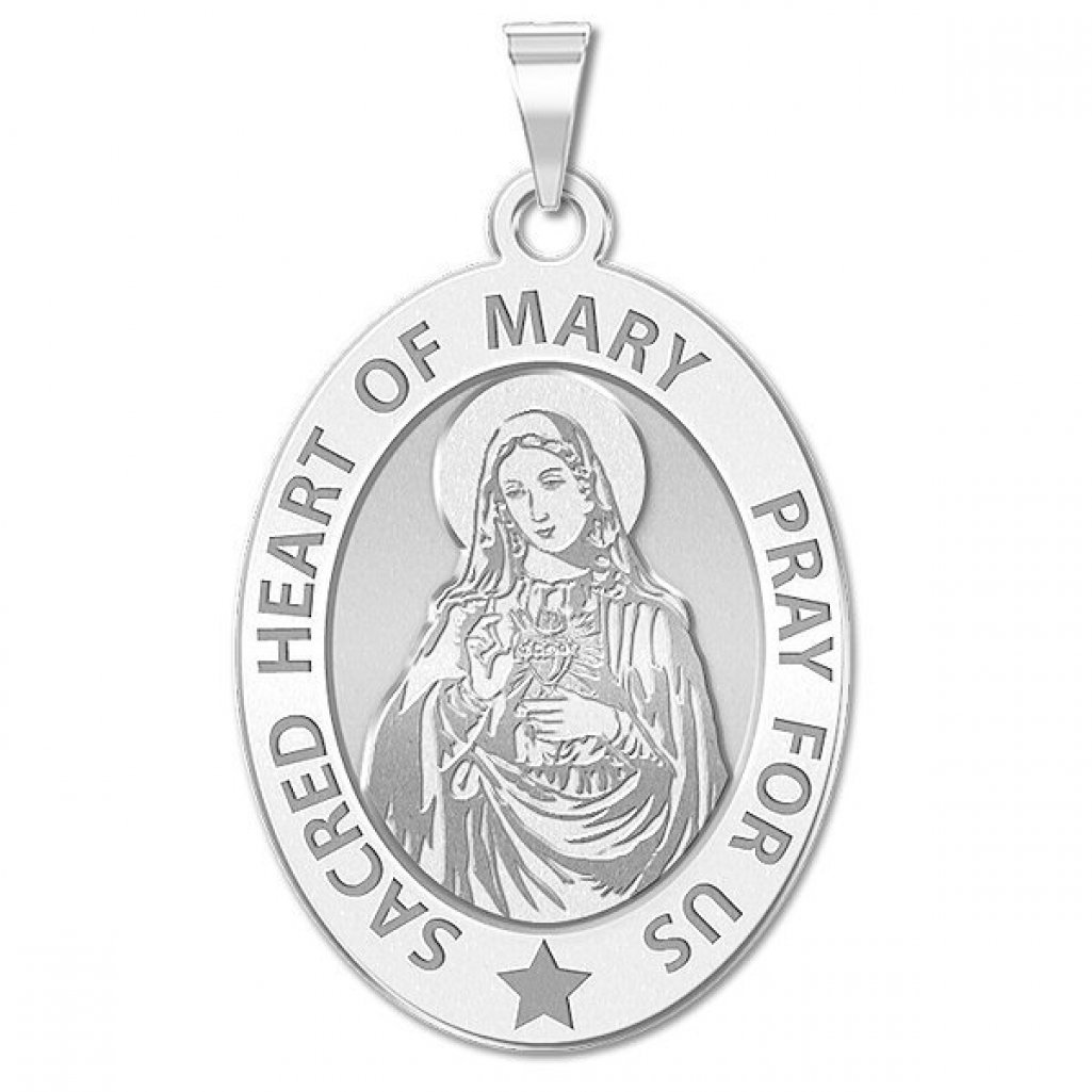 1//2 X 2//3 Inch Size of Dime PicturesOnGold.com Sacred Heart of Mary Religious Medal Solid 14K Yellow Gold