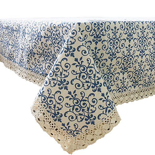 (Ustide Vintage Navy Damask Pattern Tablecloth Home Decorative Macrame Lace Tablecloth Cotton Linen Fabric Table Cover, 55