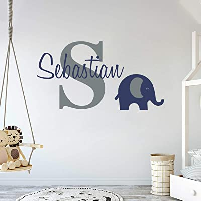 "Personalized Name Elephant Animal Series - Baby Boy - Wall Decal Nursery for Home Bedroom Children (Wide 30""x17"" Height): Baby"