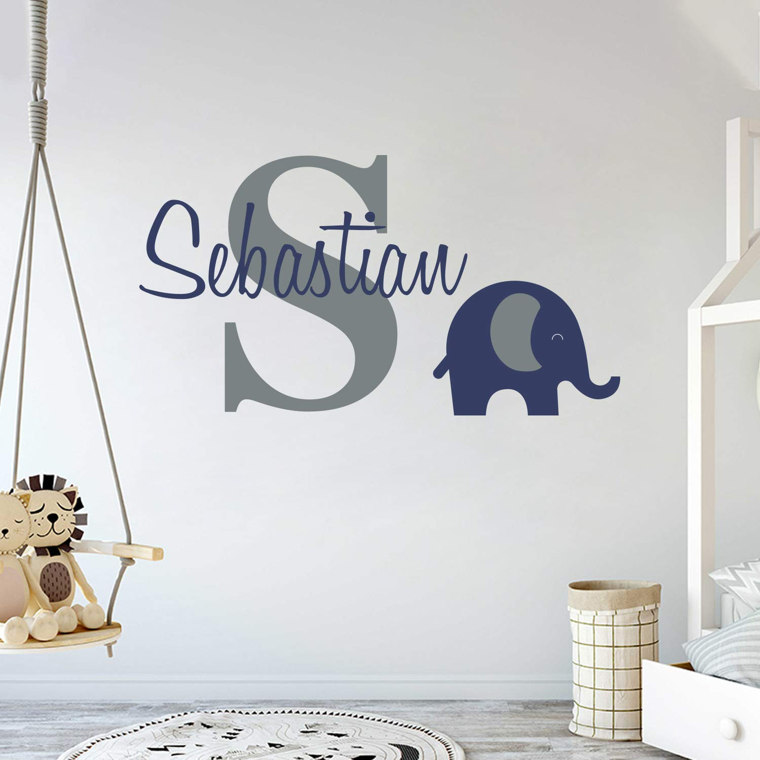 Personalized Name Elephant Animal Series - Baby Boy - Wall Decal Nursery for Home Bedroom Children (Wide 30''x17'' Height) by cryptonite