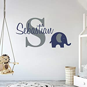 "Personalized Name Elephant Animal Series - Baby Boy - Wall Decal Nursery for Home Bedroom Children (Wide 30""x17"" Height)"