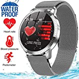 MyTECH Smart Watch Fitness Tracker Monitor de Presión Arterial y Frecuencia Cardíaca Resistente al Agua Regalo para Hombres Mujeres Reloj Deportivo Inteligente Compatible Android e iOS (Plata Metal)