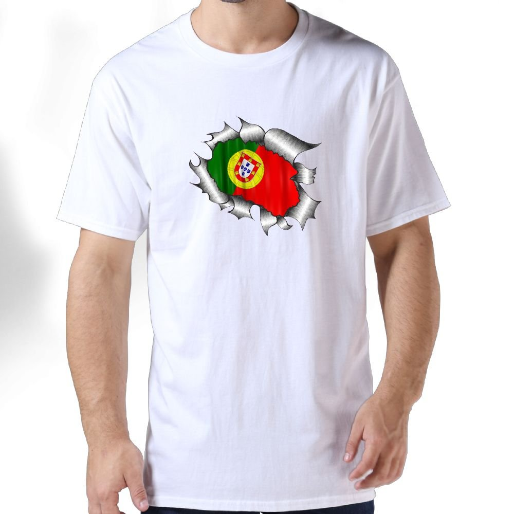 Huajsu Mens Ripped Torn Metal Design With Portugal Flag Tshirt 100