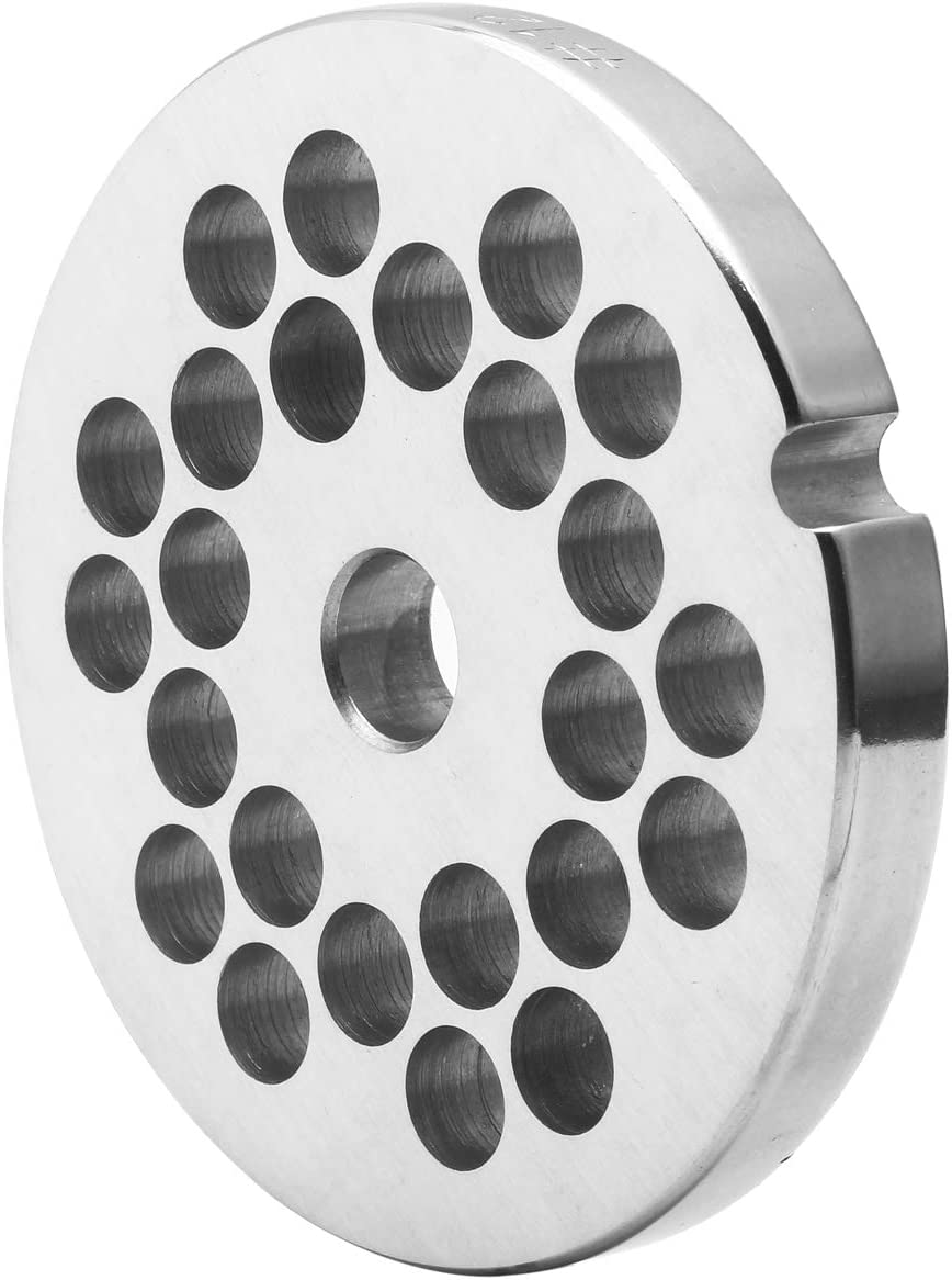 #12 Stainless Steel Meat Grinder Plate Discs Blades for Kitchenaid Mixer FGA Food Chopper and Hobart, LEM, Cabelas, Weston, MTN Meat Grinders
