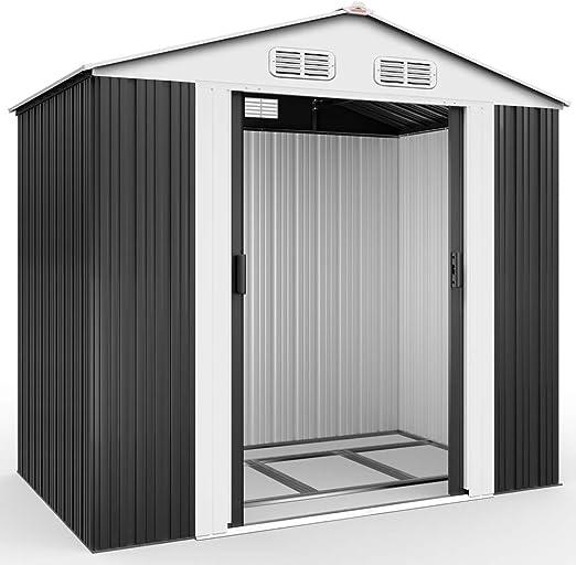 XL metallo capanno dispositivi capannone GIARDINO CAPANNO Gartenhaus tetto spiovente NUOVO GRIGIO