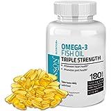 Bronson Omega 3 Fish Oil Triple Strength 2720 mg 1250 EPA 488 DHA Non GMO, Gluten Free, 180 Softgels