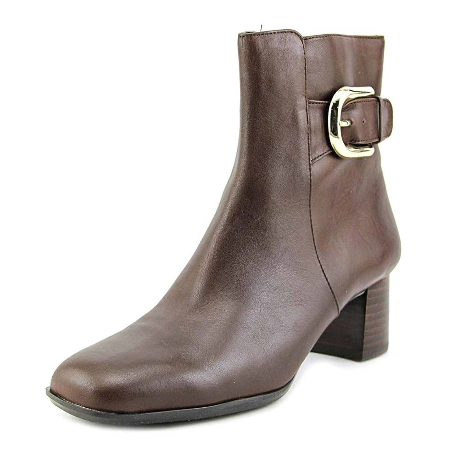 4ffe3a4f3748 high-quality Nine West Poppyo Women Square Toe Leather Brown Ankle Boot