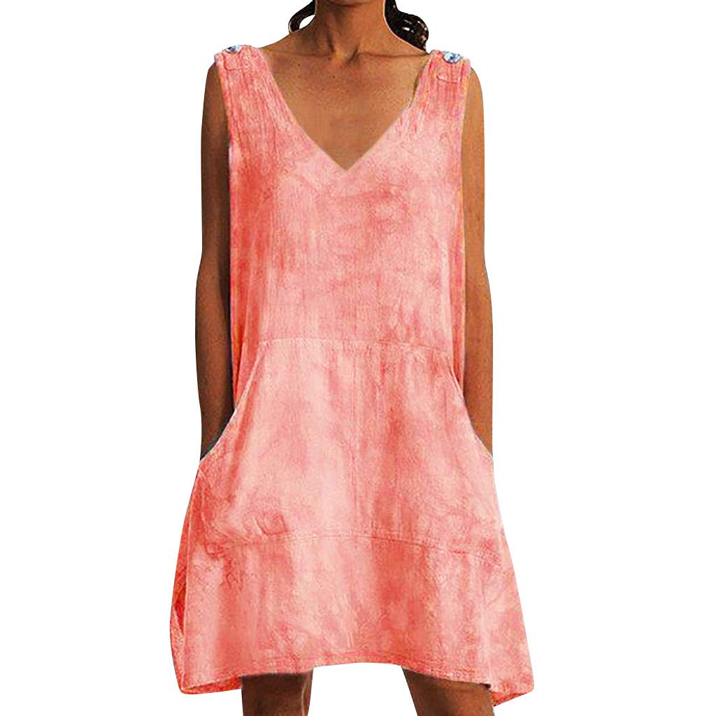 Summer Blouse Dress ❀Vine_MINMI❀ Sleeveless Gown Casual Wear Batik Leisure T-Shirt Dyed Tunic Skirt Orange by Vine_MINMI Dress