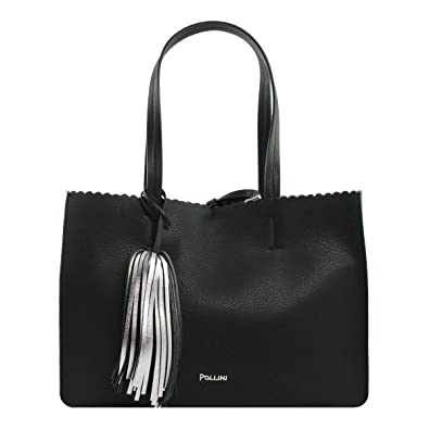 c82656ba02 BORSA DONNA POLLINI SHOPPING BAG ORIZZONTAL DOUBLE NERO SC4519 118: Amazon. co.uk: Shoes & Bags