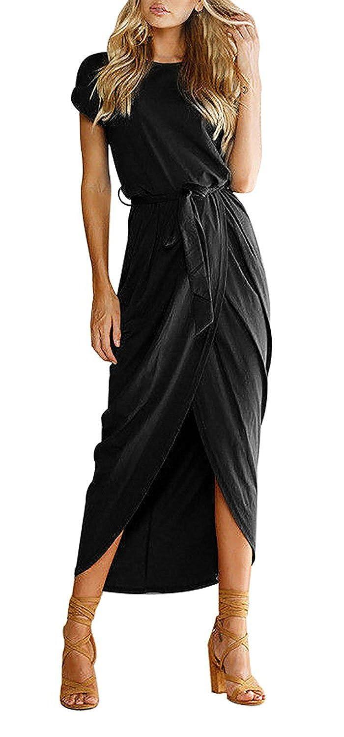 4f7a19f0401bc Features:Slit Maxi Dress,Sexy Split Design,Belted Waist,Jersey Long Dress,Cap  Short Sleeve Summer Beach ...