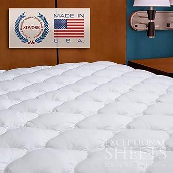 Cubrecolchón acolchado de hotel cinco estrellas con falda ajustable -- Revoloft™ relleno, individual Reino Unido: 90 x 190 cm - Hecho en EE. UU.