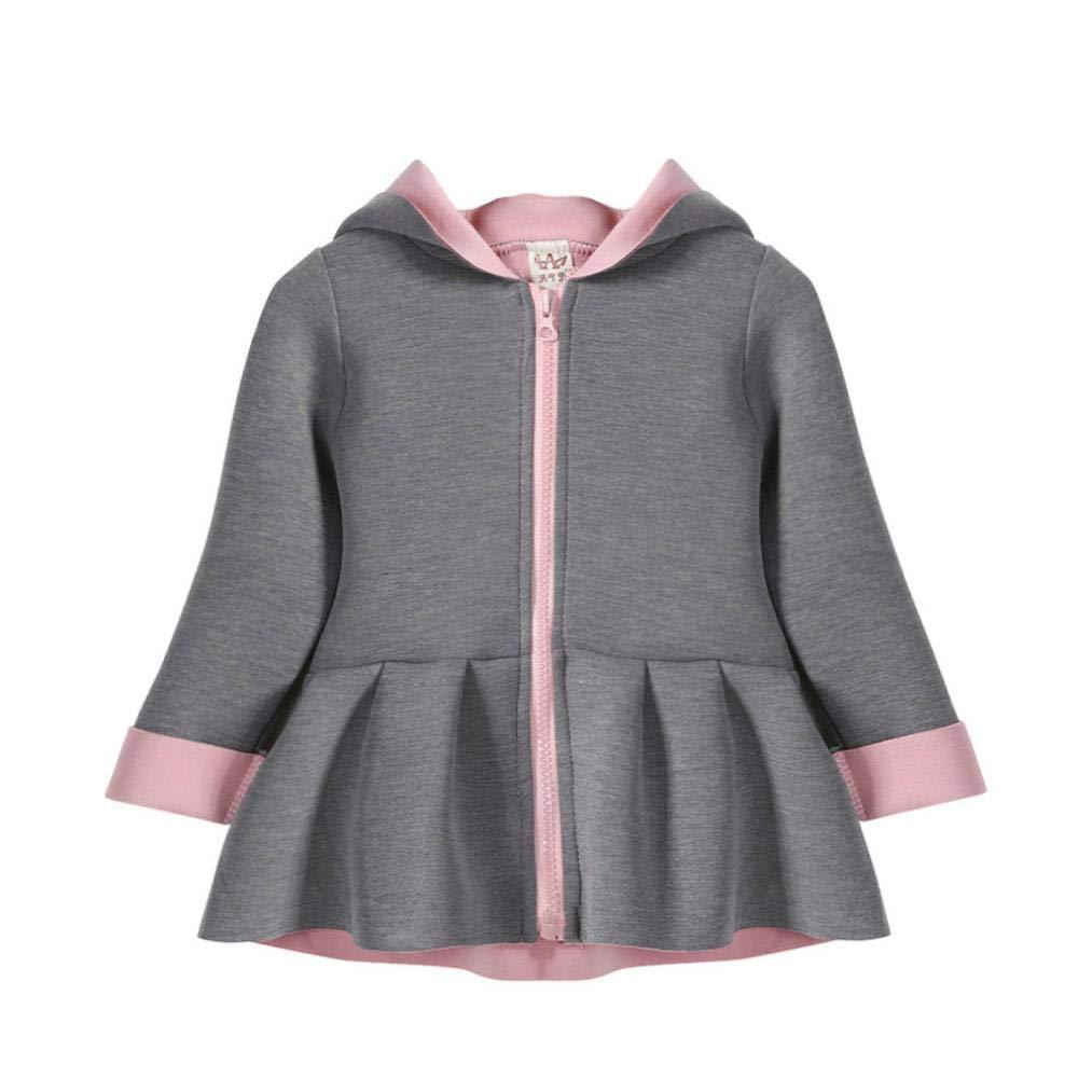 Jchen(TM) Clearance! Kid Baby Infant Little Girls Autumn Winter Cute Rabbit Hoodie Coat Warm Outwear Coat for 0-4 Y (Age: 0-12 Months, Gray)