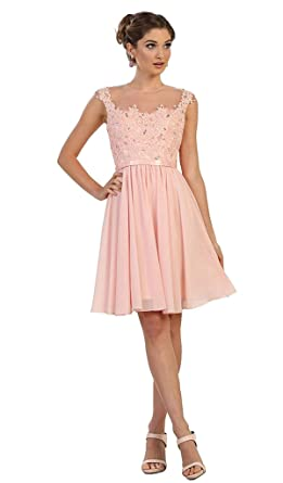 951d43b98ca May Queen - MQ1550 Embroidered Illusion A-Line Cocktail Dress at Amazon  Women s Clothing store